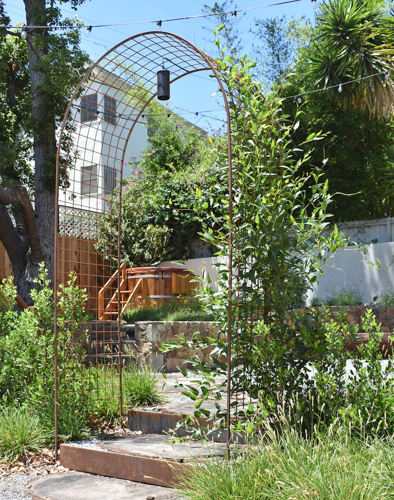 Arts and Crafts Garden with Drought Tolerant Rain Garden in California